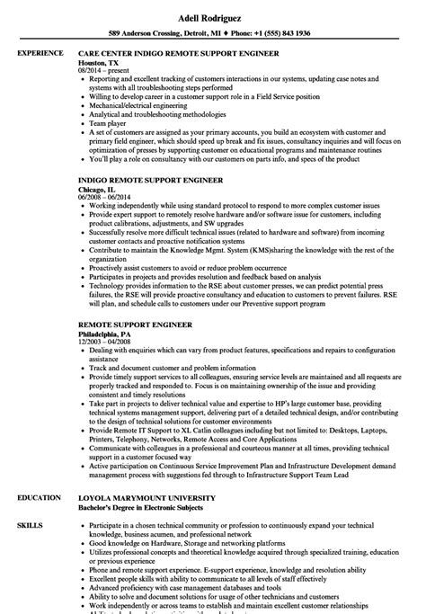 remote support engineer resume sles velvet