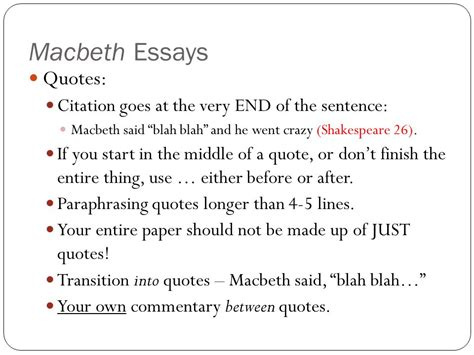 Macbeth Essay Citations by Macbeth Essays With Quotes Your Search Returned 400 Essays For Free Essays Macbeth