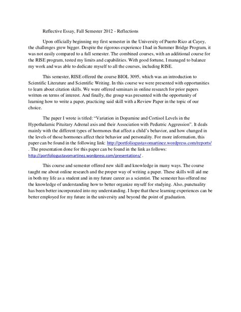 A Personal Reflective Essay Or Story by Writing A Reflective Essay