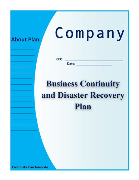 continuity plan template for manufacturing sle business