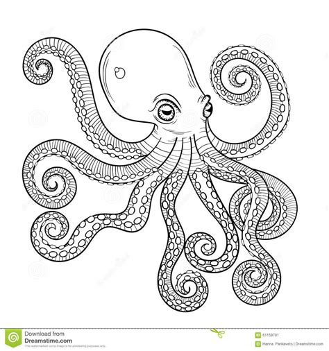 octopus coloring page adults hand drawn engraving octopus animal totem for adult