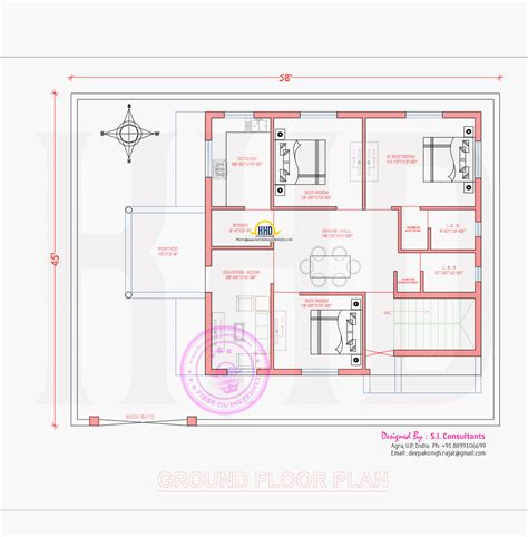 ground floor plan 3d view and floor plan home kerala plans