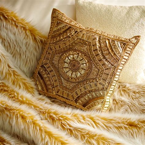 gold beaded pillow adding a pillow with intricate beadwork like pier 1 s