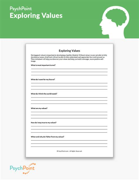 exploring values worksheet psychpoint