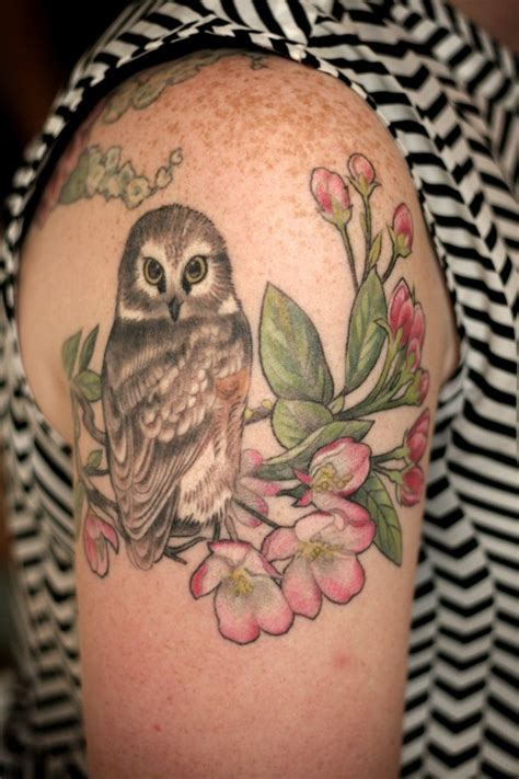alice kendall tattoo s birds and flowers s owl by kendall