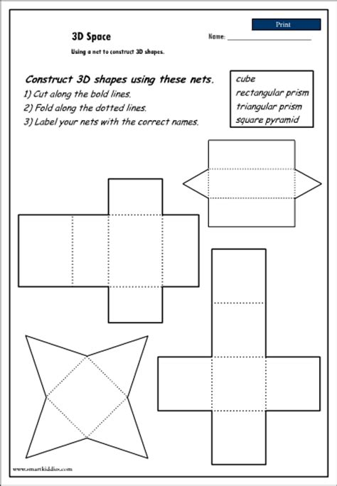printable surface area nets printable 3d nets printable pages