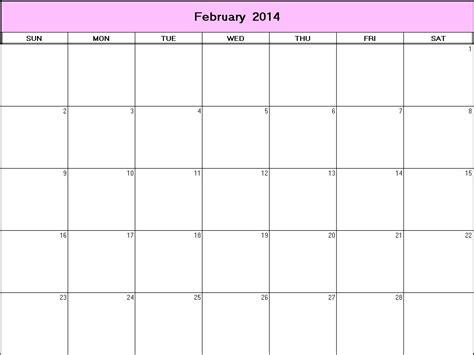 2014 blank calendar template february 2014 printable blank calendar