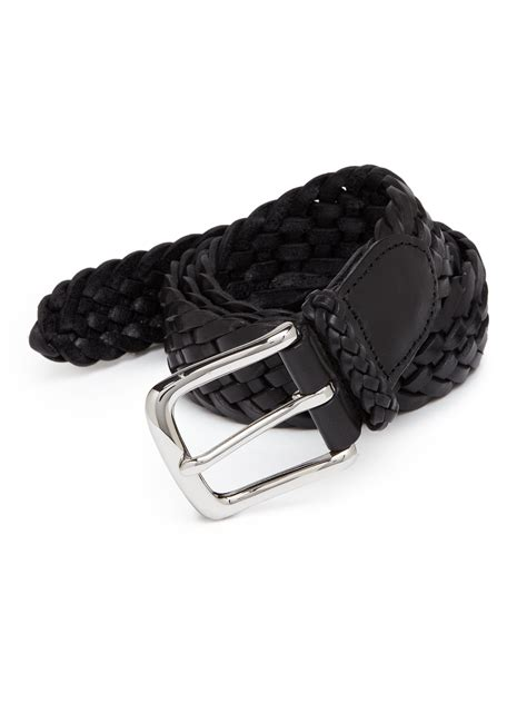 polo ralph braided leather belt in black for lyst