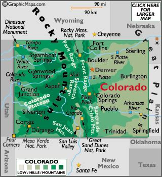 geographical map of colorado colorado map geography of colorado map of colorado