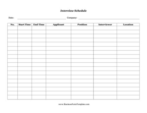 job interview schedule template