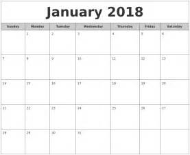 Calendar 2018 January Printable January 2018 Free Monthly Calendar