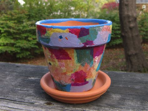 Decoupage Terracotta Plant Pots - tissue paper decoupage flower pot