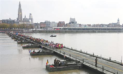 what is a pontoon bridge pontoon bridge opens to remind belgians of wwi newspaper