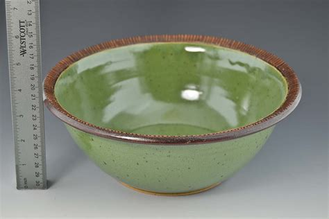 Handmade Pottery Bowls - handmade pottery 10 5 quot serving bowl bright green