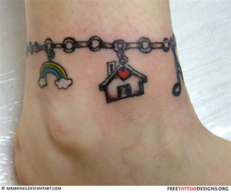 ankle charm bracelet tattoos designs