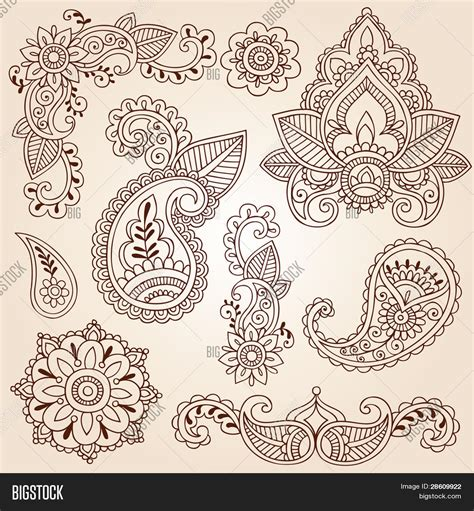 henna mehndi doodles abstract vector amp photo bigstock