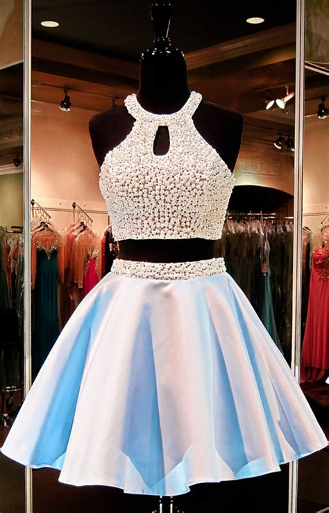 Sexy Halter Two Piece Short Homecoming Dress 2016 Beadings Sleeveless   Products   27DRESS.COM