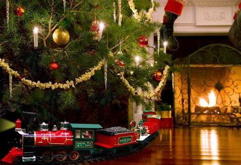 holiday train around the christmas tree everything