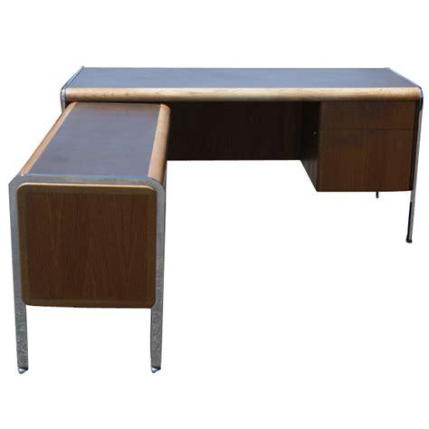 Return Desk by Vintage Norman Bates Wood Chrome Desk With Return