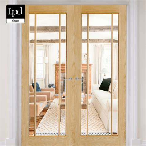 lpd oak lincoln glazed  clear internal door pair