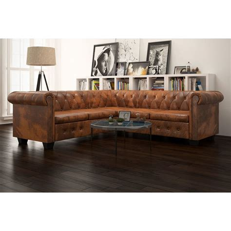 leather chesterfield corner sofa vidaxl chesterfield corner sofa 5 seater artificial