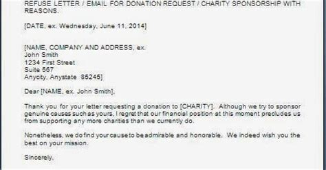 charity request refusal letter every bit of refusal letter for sponsorship