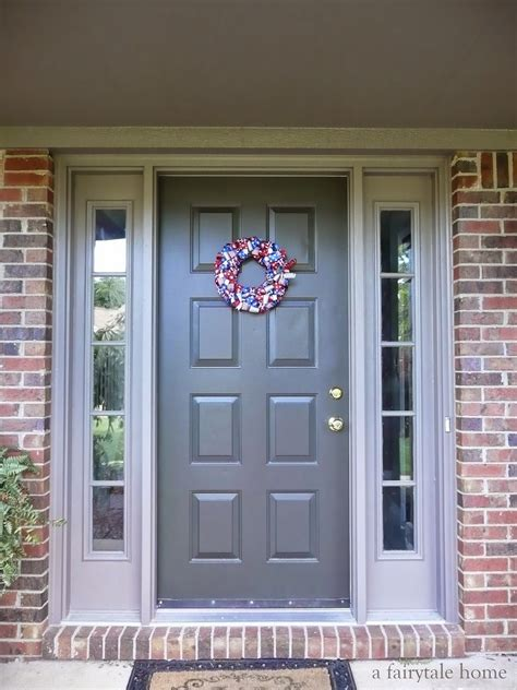 exterior paint colors to go with brick door sealskin trim backdrop by sherwin williams