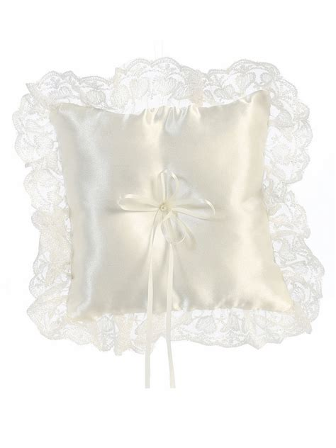 satin w lace ivory trim ring bearer pillow