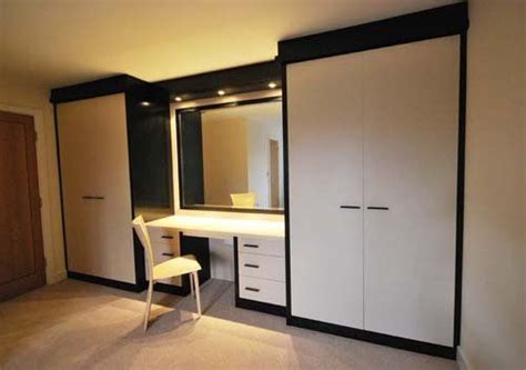 Wardrobes And Dressing Tables by White High Gloss Fitted Wardrobes With Dressing Table