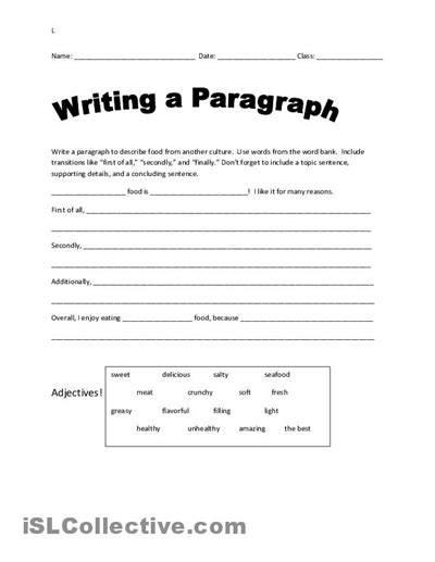 paragraph writing worksheets high school 14 best images of parts of a paragraph worksheet
