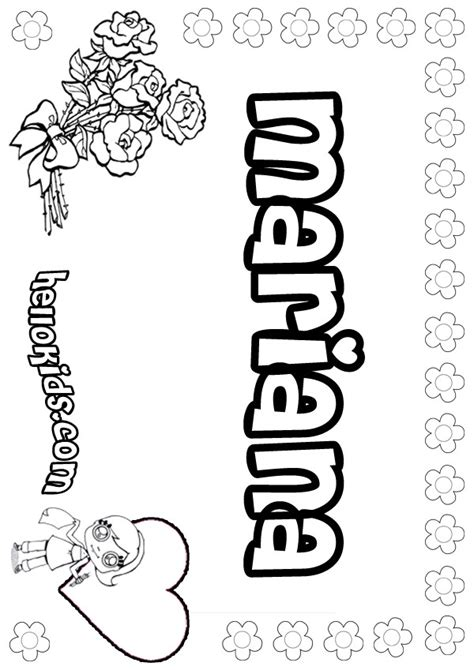 Mariana Coloring Pages Hellokids Com Name Colouring Pages