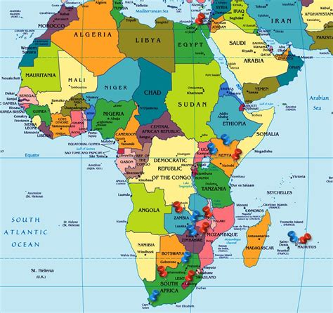 political map of africa continent showing all the