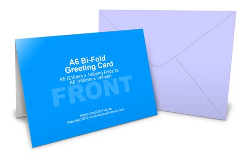 free bi fold card template a6 greeting card mockup cover actions premium mockup