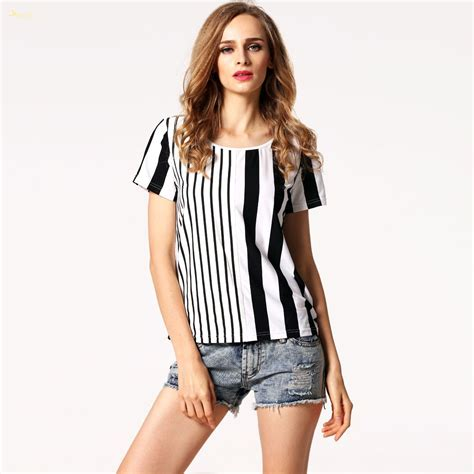 Top Casual 57 free shipping vertical striped top casual o neck