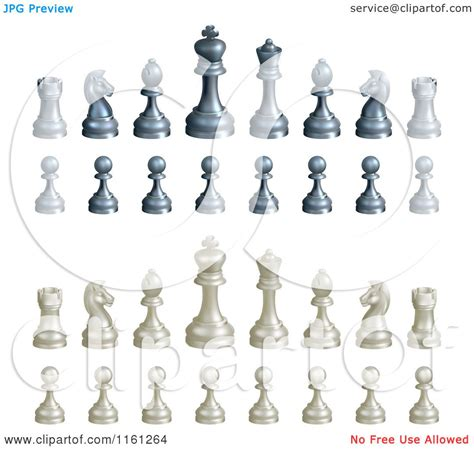 clipart of a 3d set of black and white chess pieces