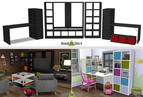 mod鑞e de cuisine am駻icaine ikea like expedit kallax furniture at around the sims 4