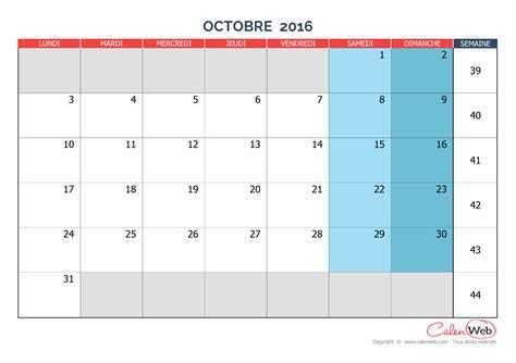 Calendrier 2016 Vierge Mensuel Calendrier Mensuel Mois D Octobre 2016 Version Vierge