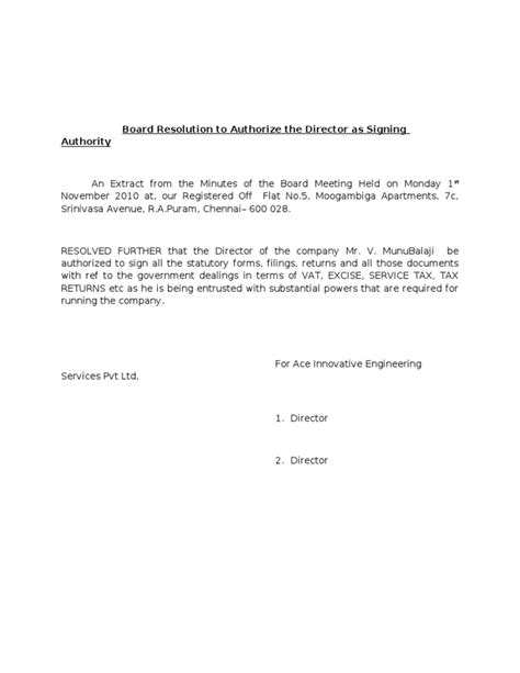 board resolution to authorize the director as signing authority
