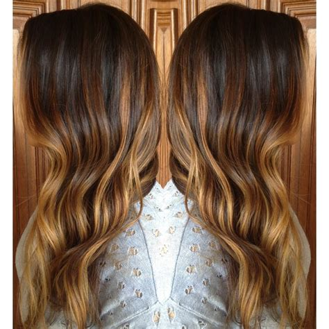 balayage ombre highlights caramel sombre highlights over long layered brunette curls