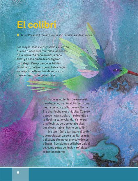 libro de lecturas 4 grado contestado el colibr 237 espa 241 ol lecturas 4to 2014 2015 apoyo primaria