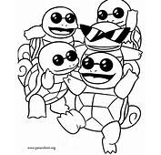 Pok&233mon  Squirtle Squad Coloring Page