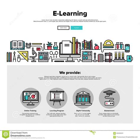 E Learning Flat Line Web Graphics Stock Vector Image 60326331 Graphic Design Study Template