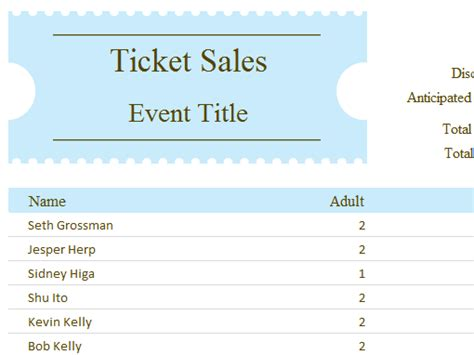 ticket sales spreadsheet template student assignment planner office templates