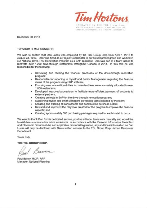 tim hortons resume exle tim hortons letter of reference