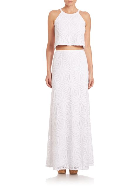 lilly pulitzer two lace top maxi skirt set