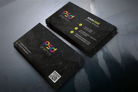 Black Business Card Template Free Psd Psd Graphics Card Psd Templates