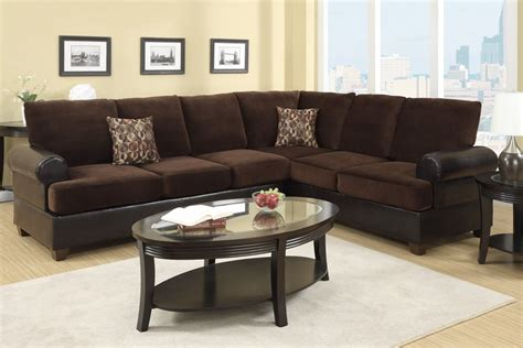 Microsuede Sectional Sofa Poundex Abbas F7102 Brown Microsuede Sectional Sofa In Los Angeles Ca