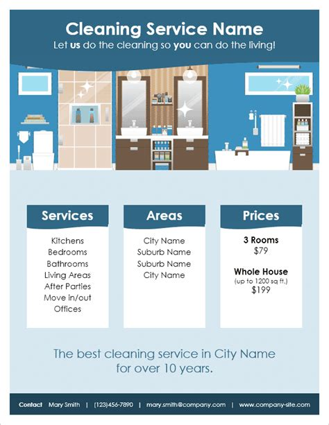 Cleaning Service Flyer Template For Word Cleaning Service Template Free