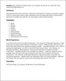 Apprentice Resume Professional Millwright Apprentice Templates To Showcase