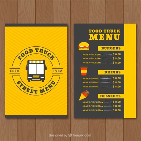 design menu online for free food truck menu design vector free download